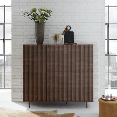 Modena Three Door High Sideboard - Dark Walnut Finish  with Pinstripe Stencil