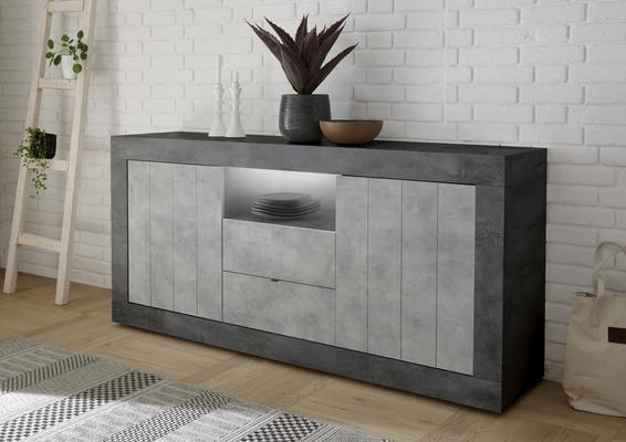 Como Two Door/Two Drawer Sideboard Inc. LED Spotlight - Anthracite and Grey Finish