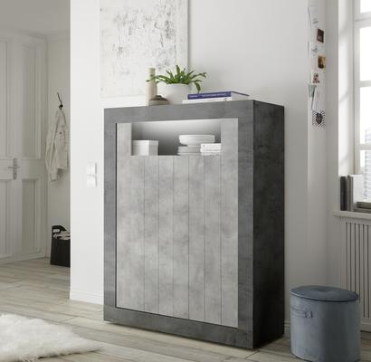 Como Two Door Highboard - Anthracite and Grey Finish
