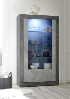 Como Two Door Display Vitrine Inc. LED Spotlight  - Anthracite and Grey Finish