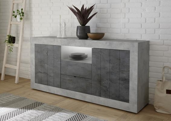 Como Two Door/Two Drawer Sideboard Inc. LED Spotlight - Grey and Anthracite Finish
