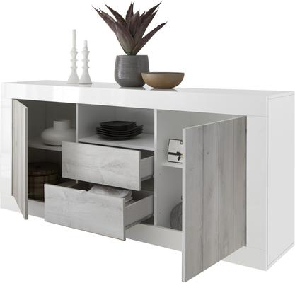 Como Two Door/Two Drawer Sideboard Inc. LED Spotlight - Grey and Anthracite Finish image 4
