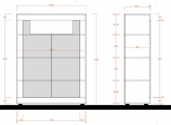 Como Two Door Highboard - Grey and Anthracite Finish image 3