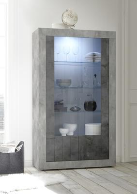 Como Two Door Display Vitrine Inc. LED Spotlight  - Grey and Anthracite Finish