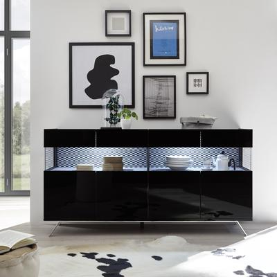 Genova Four Door Display Sideboard with Two LED Lights - Black Gloss Lacquer finish with Black and White Fabric Insert