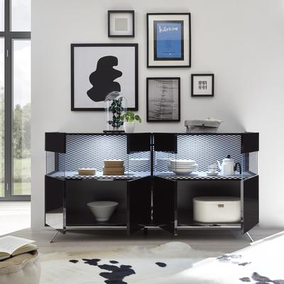 Genova Four Door Display Sideboard with Two LED Lights - Black Gloss Lacquer finish with Black and White Fabric Insert image 2