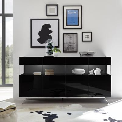 Genova Four Door Display Sideboard with Two LED Lights - Black Gloss Lacquer finish