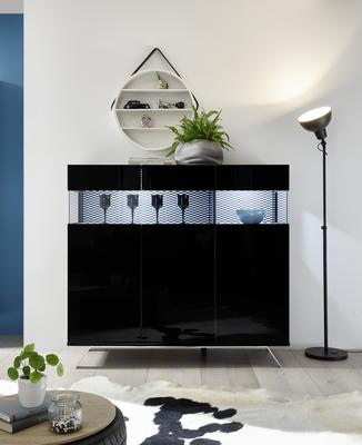 Genova Three Door Display Highboard with Two LED Lights - Black Gloss Lacquer finish with Black and White Fabric Insert