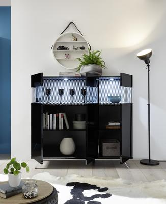 Genova Three Door Display Highboard with Two LED Lights - Black Gloss Lacquer finish with Black and White Fabric Insert image 2