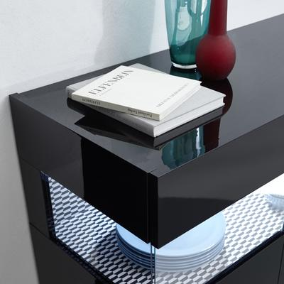 Genova Three Door Display Highboard with Two LED Lights - Black Gloss Lacquer finish with Black and White Fabric Insert image 4