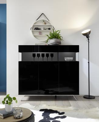 Genova Three Door Display Highboard with Two LED Lights - Black Gloss Lacquer finish