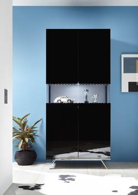 Genova Two Door Display Vitrine with LED Light - Black Gloss Lacquer finish with Black and White Fabric Insert