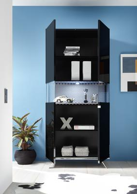 Genova Two Door Display Vitrine with LED Light - Black Gloss Lacquer finish with Black and White Fabric Insert image 2