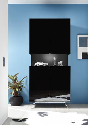 Genova Two Door Display Vitrine with LED Light - Black Gloss Lacquer finish
