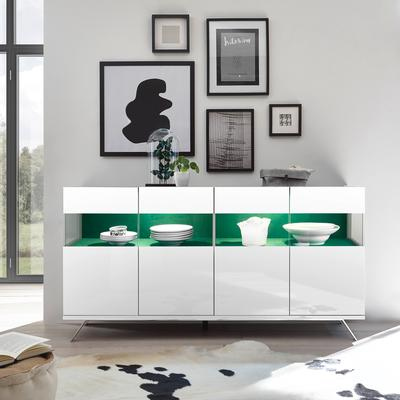 Genova Four Door Display Sideboard with Two LED Lights - White Gloss Lacquer finish with Green Fabric Insert