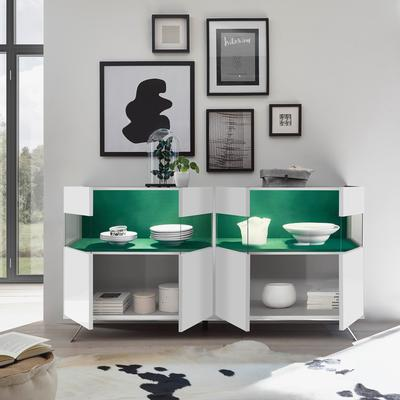Genova Four Door Display Sideboard with Two LED Lights - White Gloss Lacquer finish with Green Fabric Insert image 2