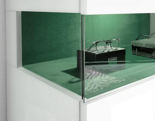 Genova Four Door Display Sideboard with Two LED Lights - White Gloss Lacquer finish with Green Fabric Insert image 4