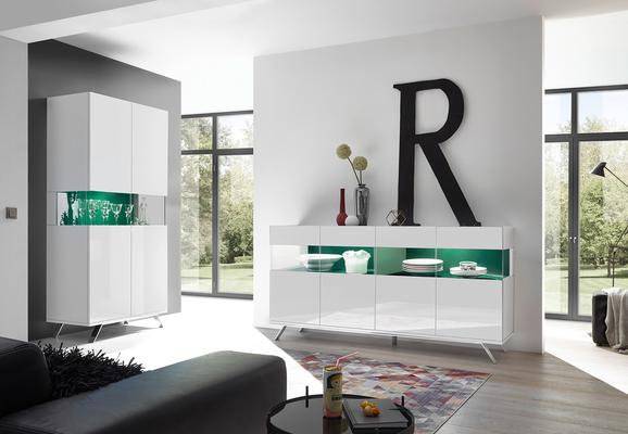 Genova Four Door Display Sideboard with Two LED Lights - White Gloss Lacquer finish with Green Fabric Insert image 5