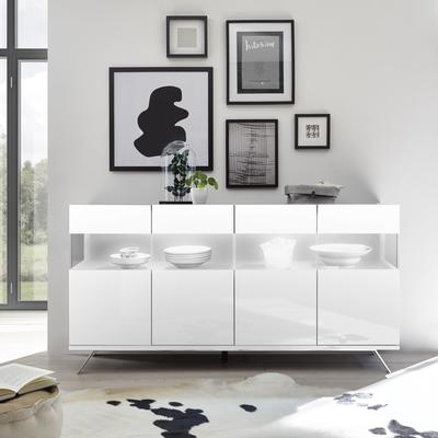 Genova Four Door Display Sideboard with Two LED Lights - White Gloss Lacquer finish
