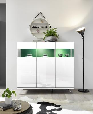 Genova Three Door Display Highboard with Two LED Lights - White Gloss Lacquer finish with Green Fabric Insert