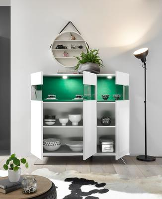 Genova Three Door Display Highboard with Two LED Lights - White Gloss Lacquer finish with Green Fabric Insert image 2
