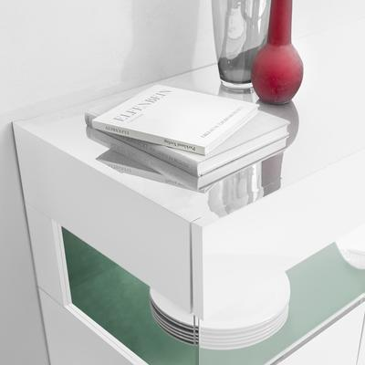 Genova Three Door Display Highboard with Two LED Lights - White Gloss Lacquer finish with Green Fabric Insert image 3