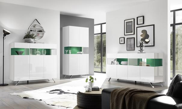 Genova Three Door Display Highboard with Two LED Lights - White Gloss Lacquer finish with Green Fabric Insert image 5