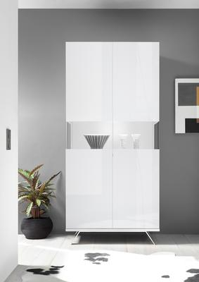Genova Two Door Display Vitrine with LED Light - White Gloss Lacquer finish