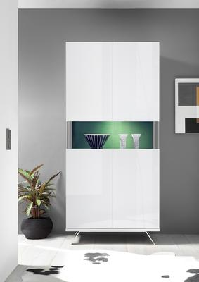 Genova Two Door Display Vitrine with LED Light - White Gloss Lacquer finish with Green Fabric Insert