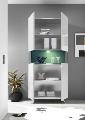 Genova Two Door Display Vitrine with LED Light - White Gloss Lacquer finish with Green Fabric Insert image 2
