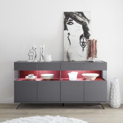 Genova Four Door Display Sideboard with Two LED Lights - Carbon Finish with Red Velvet Insert
