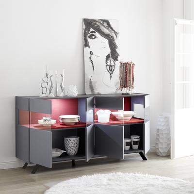 Genova Four Door Display Sideboard with Two LED Lights - Carbon Finish with Red Velvet Insert image 2