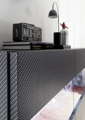 Genova Four Door Display Sideboard with Two LED Lights - Carbon Finish with Red Velvet Insert image 3