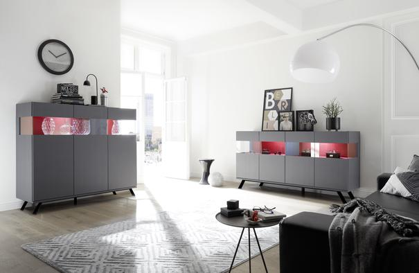 Genova Four Door Display Sideboard with Two LED Lights - Carbon Finish with Red Velvet Insert image 5