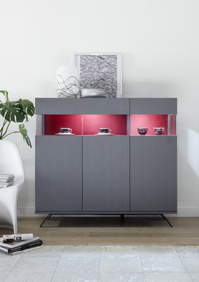 Genova Three Door Display Highboard with Two LED Lights - Carbon Finish with Red Velvet Insert