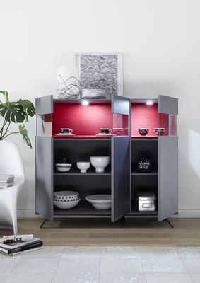 Genova Three Door Display Highboard with Two LED Lights - Carbon Finish with Red Velvet Insert image 2