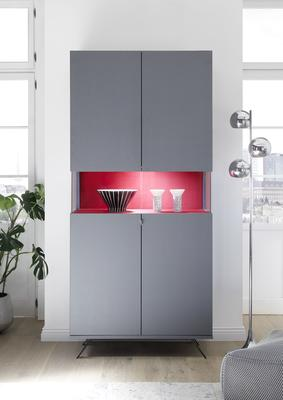 Genova Two Door Display Vitrine with LED Light - Carbon Finish with Red Velvet Insert