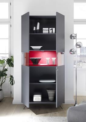 Genova Two Door Display Vitrine with LED Light - Carbon Finish with Red Velvet Insert image 2