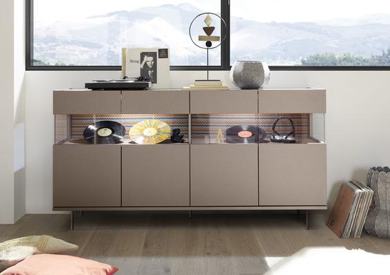 Genova Four Door Display Sideboard with Two LED Lights - Bronze Lacquer Finish with Zig-Zag Fabric Insert