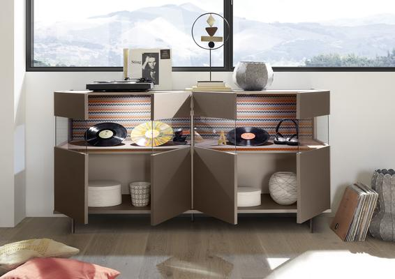 Genova Four Door Display Sideboard with Two LED Lights - Bronze Lacquer Finish with Zig-Zag Fabric Insert image 2