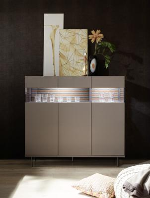 Genova Three Door Display Highboard with Two LED Lights - Bronze Lacquer finish with Zig-Zag Fabric Insert