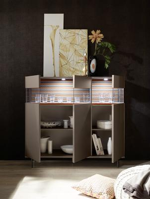 Genova Three Door Display Highboard with Two LED Lights - Bronze Lacquer finish with Zig-Zag Fabric Insert image 2