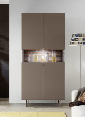 Genova Two Door Display Vitrine with LED Light - Bronze Lacquer finish with Zig-Zag Fabric Insert