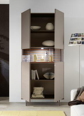 Genova Two Door Display Vitrine with LED Light - Bronze Lacquer finish with Zig-Zag Fabric Insert image 2