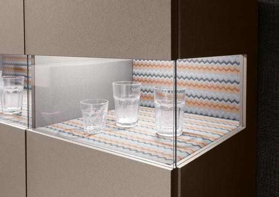 Genova Two Door Display Vitrine with LED Light - Bronze Lacquer finish with Zig-Zag Fabric Insert image 3