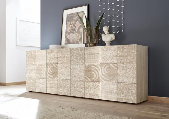 Messina Four Door Sideboard - Samoa Oak with Decorative Stencil