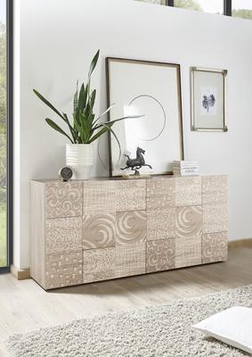 Messina Three Door Sideboard - Samoa Oak with Decorative Stencil