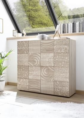 Messina Two Door High Sideboard - Samoa Oak with Decorative Stencil