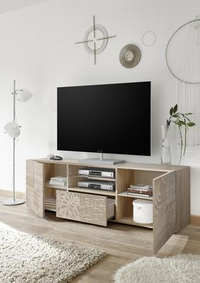 Messina Large TV Unit - Samoa Oak with Decorative Stencil image 2