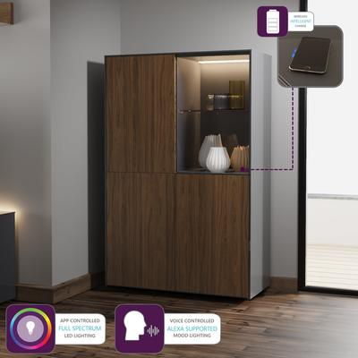 Contemporary High Gloss Grey and Walnut Effect Display cabinet with Hidden Wireless Phone Charging image 2